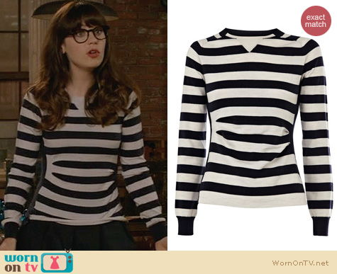 New Girl Fashion: Karen Millen Sporty Stripe Knit Sweater worn by Zooey Deschanel