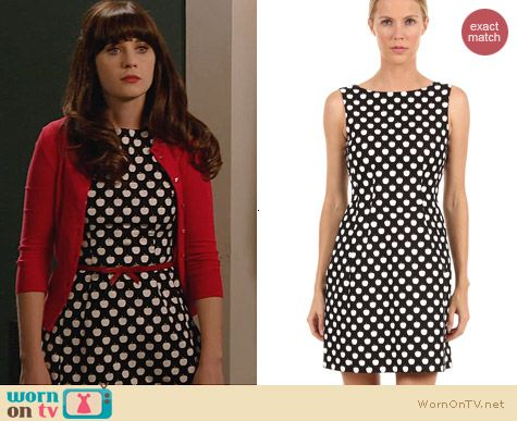 New Girl Fashion: Kate Spade Domino Dress in New York Apple worn by Zooey Deschanel