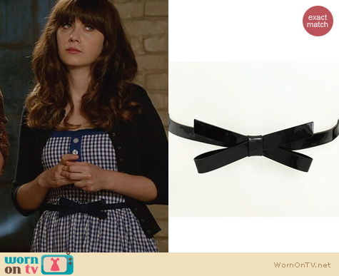 New Girl Fashion: Kate Spade Patent Leather Bow Belt worn by Zooey Deschanel
