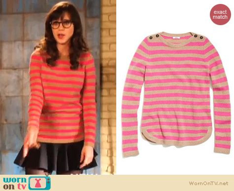 New Girl Fashion: Madewell Bataeu Stripe sweater in pink and camel worn by Zooey Deschanel