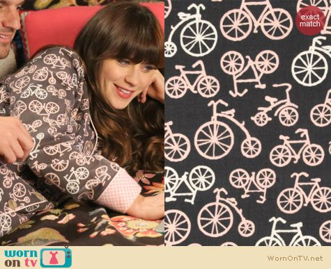 New Girl Fashion: Michael Miller Bicycle Print Fabric PJs worn by Zooey Deschanel