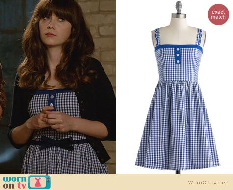 New Girl Fashion: Modcloth Blueberry Picking Dress worn by Zooey Deschanel