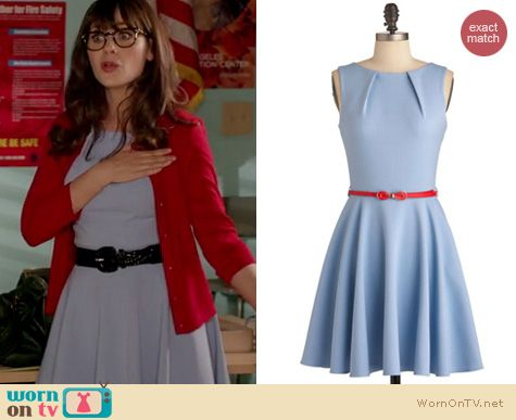 New Girl Fashion: Modcloth Luck be a lady dress in powder blue worn by Zooey Deschanel