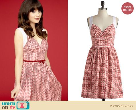 New Girl Fashion: ModCloth Paradise Tile dress worn by Zooey Deschanel