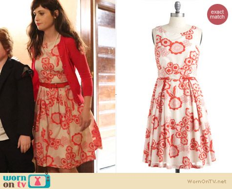 Fashion of New Girl: ModCloth Poppy Stand Dress by Eva Franco worn by Zooey Deschanel