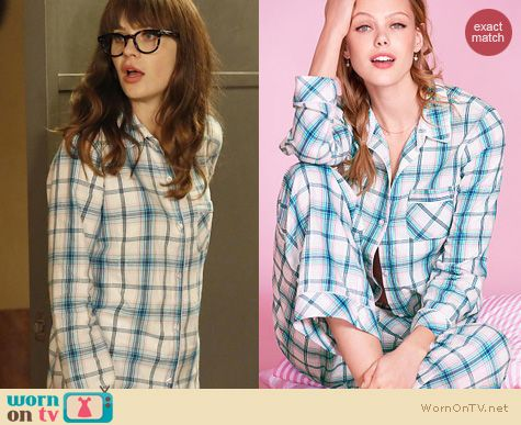New Girl Fashion: Victoria's Secret Mint Metallic Plaid Pajamas worn by Zooey Deschanel