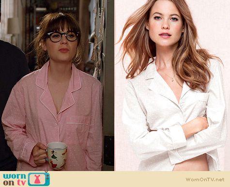 New Girl Fashion: Victoria's Secret Pink Swiss Dot Pajamas worn by Zooey Deschanel