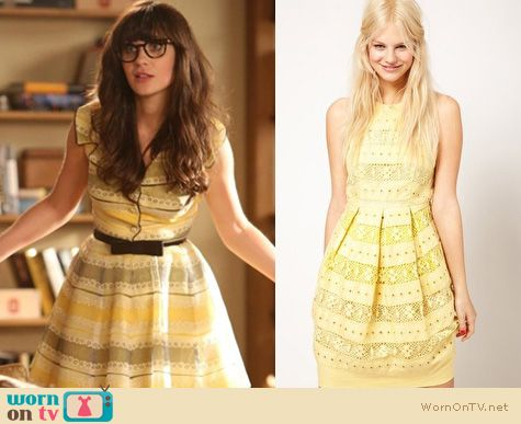 New Girl Fashion: Vintage style yellow lace dress worn by Zooey Deschanel