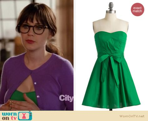 New Girl Fashion: ModCloth green strapless dress worn by Zooey Deschanel