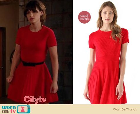 New Girl Fashion: Shoshanna Margot red sweater dress worn by Zooey Deschanel