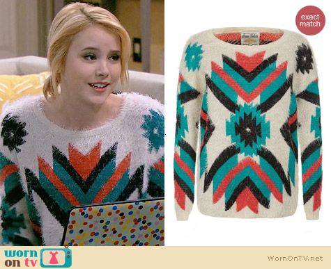 New Look Parisian Turquoise and Coral Aztec Fluffy Jumper worn by Taylor Sprietler on Melissa & Joey