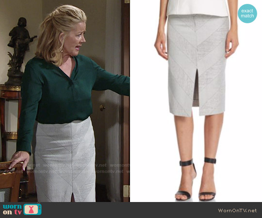 Nicholas  Textured Ponte Split Pencil Skirt worn by Nikki Reed Newman on The Young & the Restless