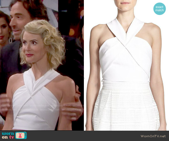 Nicholas Origami-Paneled Ponte Cropped Top worn by Linsey Godfrey on The Bold & the Beautiful