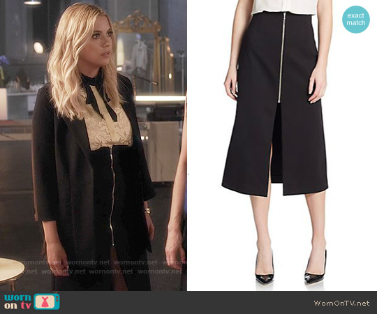 Nicholas Zip-front Ponte Midi Skirt worn by Hanna Marin on PLL
