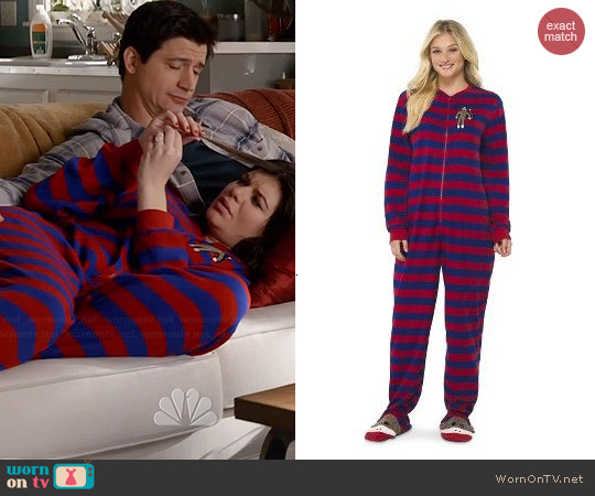 Nick & Nora Striped Sock Money Footie Pajamas worn by Casey Wilson on Marry Me