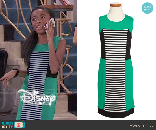 Nicole Miller Big Girls Stripe Colorblock Dress worn by Skai Jackson on Jessie