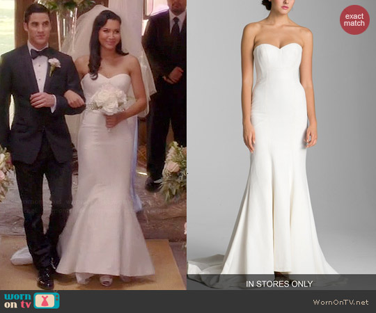 Nicole Miller Dakota Faille Trumpet Dress worn by Naya Rivera on Glee