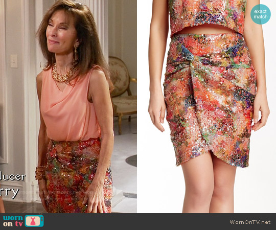 Nicole Miller Sequin Twist Skirt worn by Susan Lucci on Devious Maids