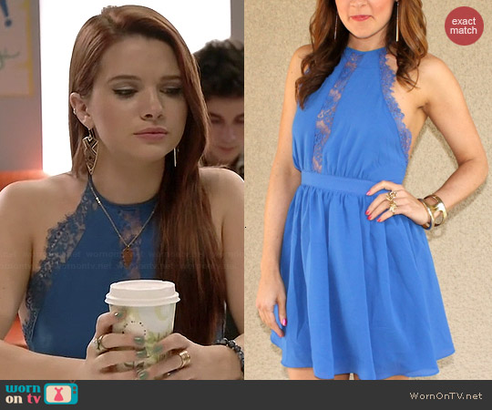 Nightingale Backless Lace Detail Halter Dress worn by Katie Stevens on Faking It