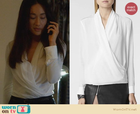 Nikita Fashion: All Saints Asdis Shirt worn by Maggie Q