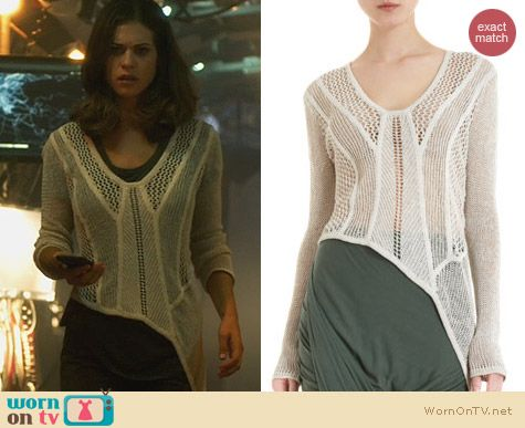 Fashion of Nikita: Helmut Lang Open Web Knit Sweater worn by Lyndsy Fonseca