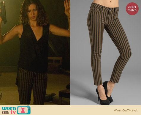 Fashion of Nikita: Paige Skyline Ankle Jeans in Olive London Stripe worn by Lyndsy Fonseca