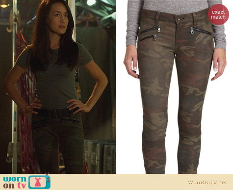 Fashion of Nikita: Rag & Bone Camo Leather Pants worn by Maggie Q