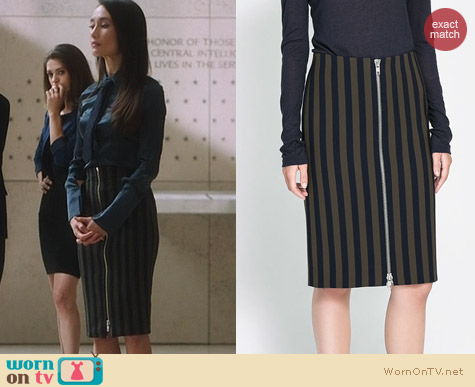 Fashion of Nikita: Zara Striped Sheath Skirt worn by Maggie Q