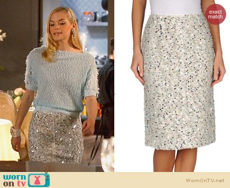 Nina Ricci Embellished Pencil Skirt worn by Jaime King on Hart of Dixie