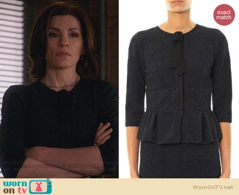 Nina Ricci Peplum Tweed Jacket worn by Julianna Margulies on The Good Wife
