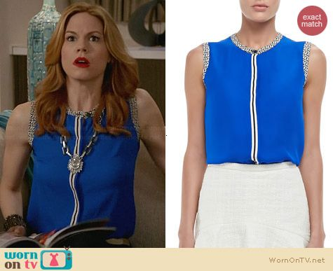 Nonoo Printed Trim Sleeveless Blouse worn by Mariana Klaveno on Devious Maids