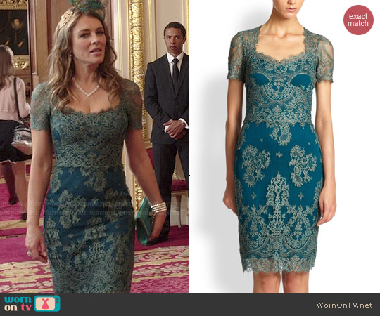 Notte by Marchesa Lace Dress worn by Elizabeth Hurley on The Royals
