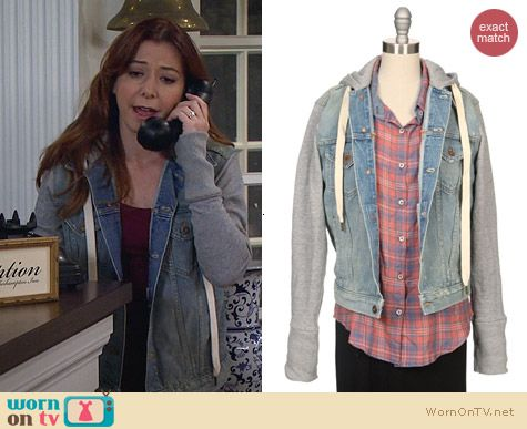 NSF Hooded Denim Sweatshirt Sleeve Jacket worn by Alyson Hannigan on HIMYM