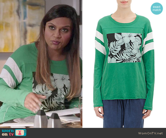 NSF Regina Long Sleeve Tee worn by Mindy Kaling on The Mindy Project