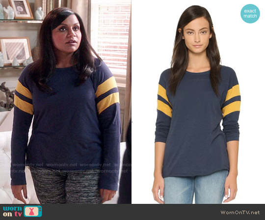 NSF Regina Long Sleeve Tee in Ink / Gold worn by Mindy Kaling on The Mindy Project
