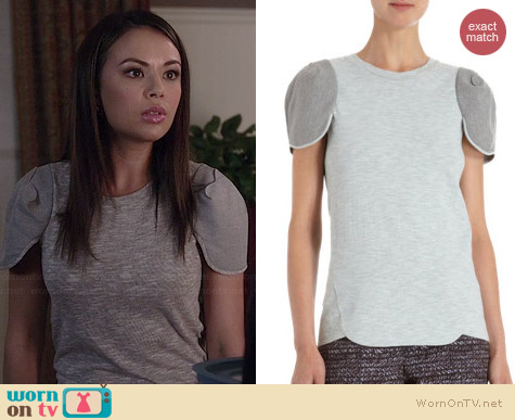 O'2nd Scalloped Sleeve Tee worn by Janel Parrish on PLL
