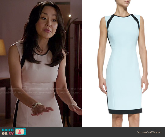 O'2nd Doji 2 Sleeveless Colorblock Sheath Dress worn by Yunjin Kim on Mistresses
