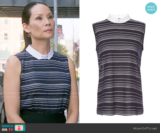 O'2nd Sheer Sleeveless Striped Collar Shirt worn by Lucy Liu on Elementary