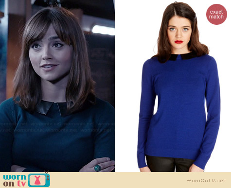 Oasis Faux Leather Collar Jumper worn by Jenna Coleman on Doctor Who