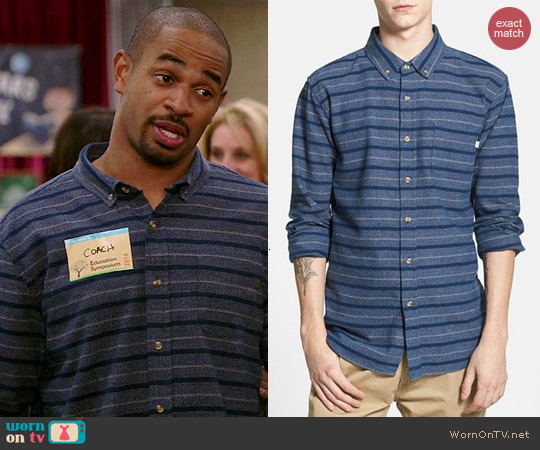 Obey Bailey Stripe Woven Shirt worn by Damon Wayans Jr on New Girl