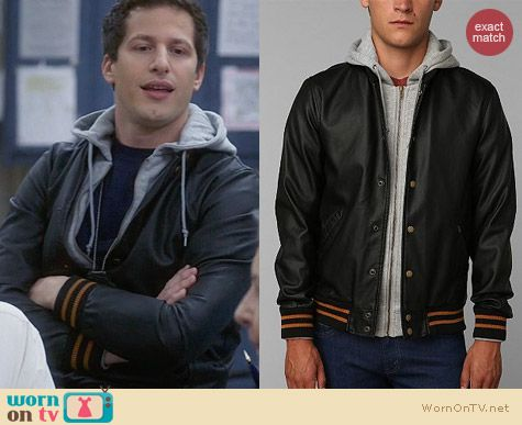 Obey Faux Leather Varsity Jacket worn by Andy Samberg on Brooklyn 99