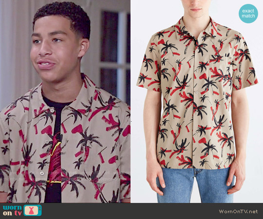 Obey Short Sleeve Gulf Print Button Down Shirt worn by Marcus Scribner on Blackish