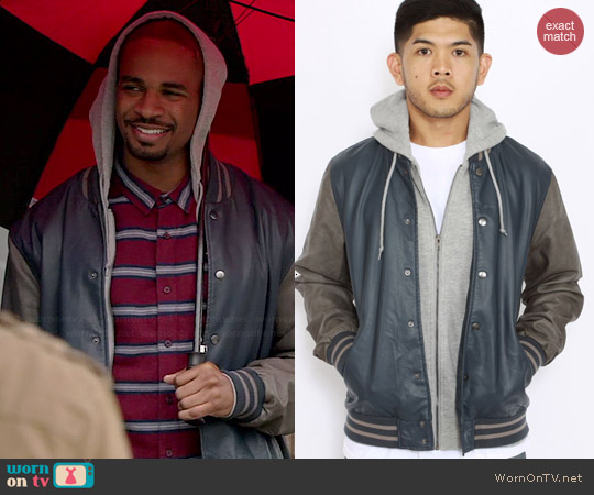 Obey Varsity Hooded Leather Jacket worn by Damon Wayans Jr on New Girl