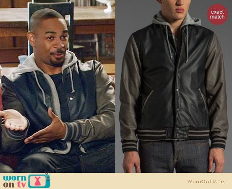 Obey Varsity Jacket worn by Damon Wayons Jr on New Girl