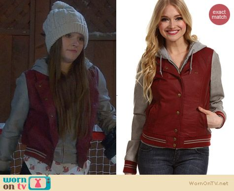Obey Varsity Lover Jacket in Burgundy worn by Kaitlyn Dever on Last Man Standing