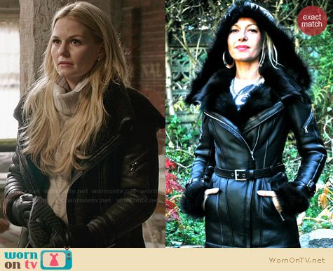 Ocean Drive Swan/Shearling Jacket worn by Jennifer Morrison on OUAT