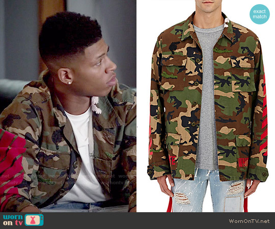 Off White c/o Virgil Abloh Camouflage Field Jacket worn by Bryshere Y. Gray on Empire