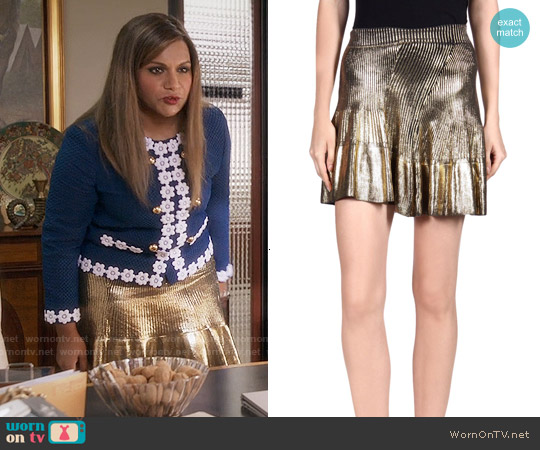 Ohne Titel Metallic Mini Skirt worn by Mindy Lahiri on The Mindy Project