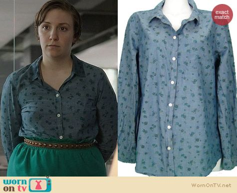 Old Navy Floral Chambray Shirt worn by Lena Dunham on Girls