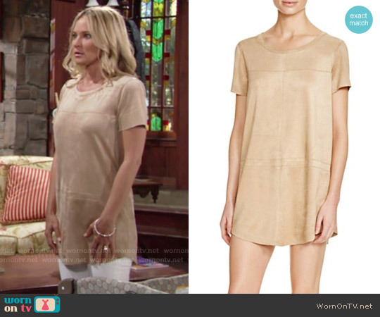 Olivaceous Faux Suede Shift Dress worn by Sharon Case on The Young & the Restless